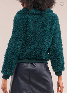 Hunter Green Faux Fur Bomber Jacket