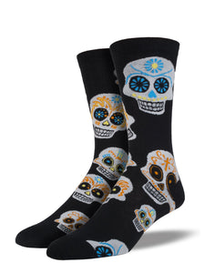 Big Muertos Sugar Skull (Black) Men's Funky Socks