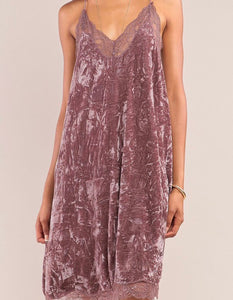 Dusty Lavender Lace Trimmed Crushed Velvet Slip Dress