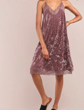 Load image into Gallery viewer, Dusty Lavender Lace Trimmed Crushed Velvet Slip Dress