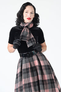 Tabitha Plaid Pink and Black Swing Skirt with Matching Scarf