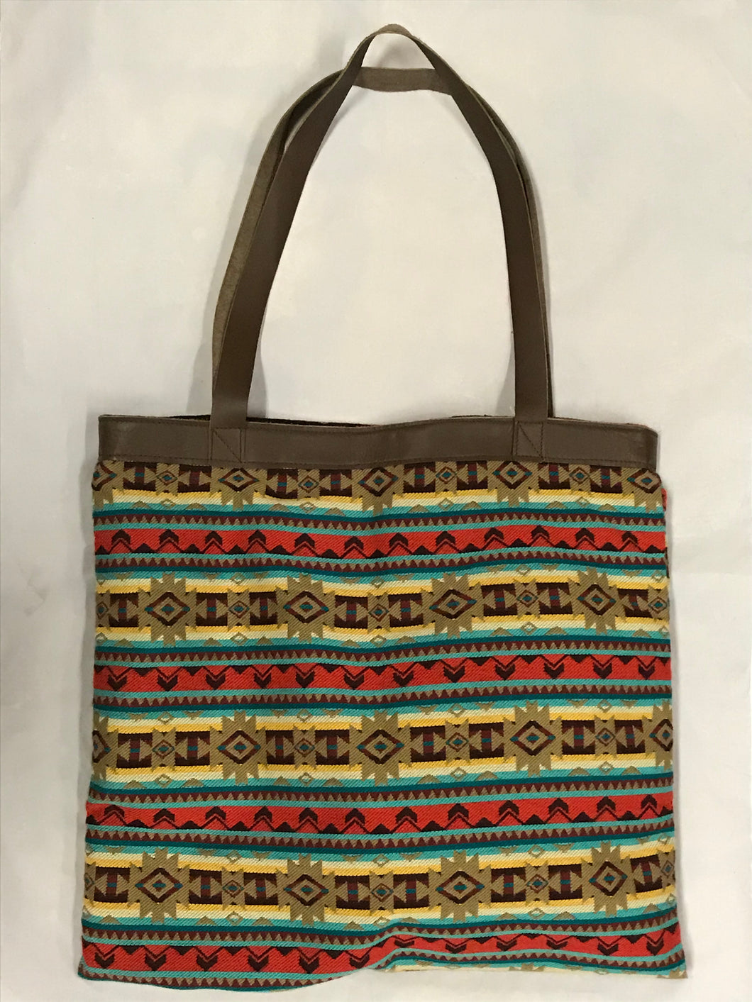 Cream, Teal, and Red Striped Woven XL Tote Bag
