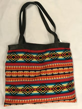 Load image into Gallery viewer, Red, Teal, and Mustard Striped Woven XL Tote Bag
