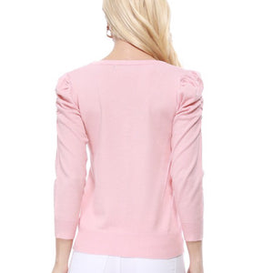 Pink Ruched Shoulder Long Sleeve Cardigan
