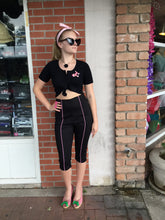 Load image into Gallery viewer, Black and Pink Pinstripe Capri Pants