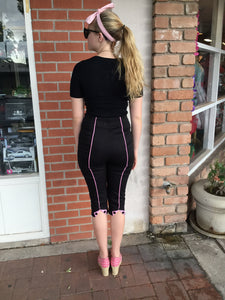 Black and Pink Pinstripe Capri Pants