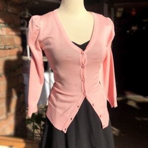 baby pink puff shoulder cardigan