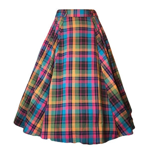 Camille Bright Plaid Skirt