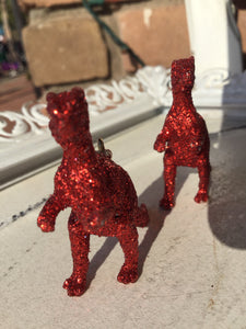3D Red Glitter T-Rex Statement Earrings