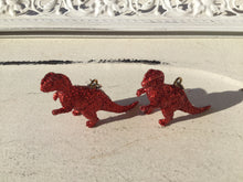 Load image into Gallery viewer, 3D Red Glitter T-Rex Statement Earrings