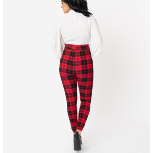Red and Black Plaid High Waist Rizzo Pants- PLUS SIZE
