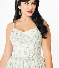 Load image into Gallery viewer, Mint & Ivory Floral Reed Swing Dress