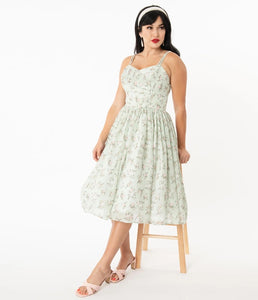 Mint & Ivory Floral Reed Swing Dress