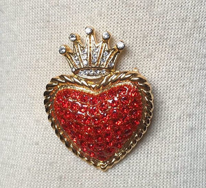 Sacred Heart Crystal Brooch