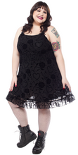 Load image into Gallery viewer, plus size black rose dress barbed wire