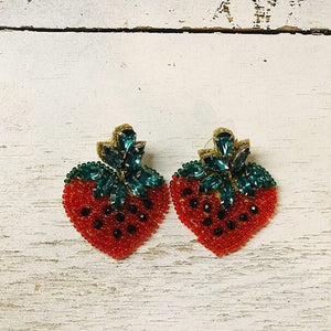 beaded strawberry earrings