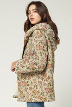 Load image into Gallery viewer, Taupe Floral Hooded Jacket