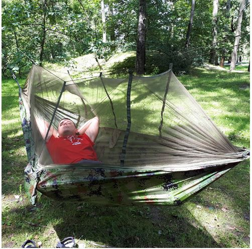HomeTrendz™ Double Camping Hammock with Mosquito Net | Garden, Backyard, Camping, Backpacking Outdoor Hammock Tent