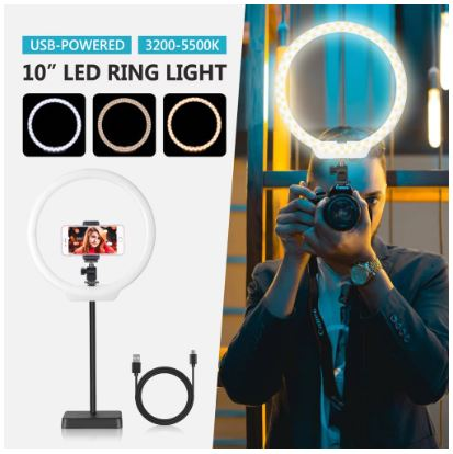 Ring Video Light 10 inch Bicolor 144 LED Light Kit for Camera, Phone Selfie, Youtube video, Vlogging
