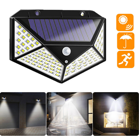 RadiantX™ Solar Motion Sensor Wall Light 100 LED Outdoor Solar Security Lights for Front Door, Garden, Garage, Deck