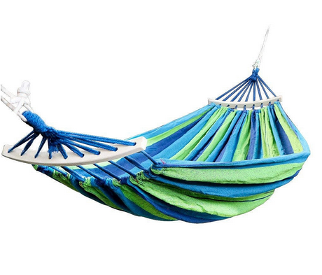 Cotton Tree Hammock 2 Person Outdoor Portable Hammock Bed in a Bag for Garden, Backyard, Camping