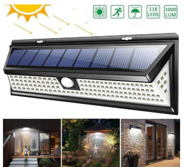 RadiantX™ Solar motion sensor security light outdoor 118 LED Flood light