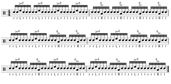 Paradiddle diddle exercise 2