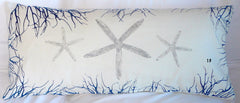 Coastal Corals: Handmade Pillow Covers in ocean blue and silver