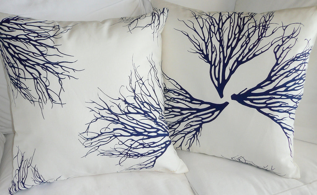 Ocean Blue Coral Pillow Cover