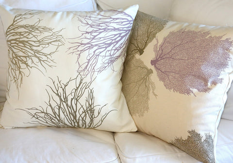 Coral and Sea Fan Pillow Covers with Antique Purple