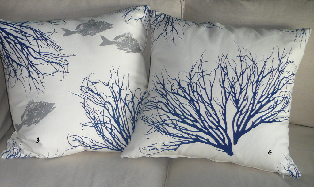 Coral Sea Fan Seahorse Fish Hand Screened Pillows Helio Graphics