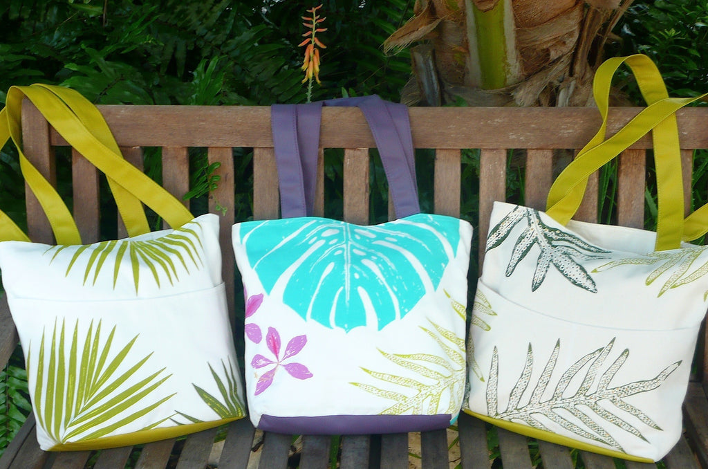 tropical botanical fabric totes