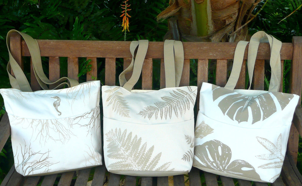 tropical seas, forest ferns & jungle totes