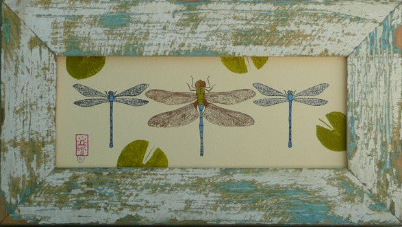 Damselflies and Green Darner Dragonfly Wood Framed Print