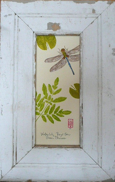 Dragonfly, Fern, Lily Pad Wood Framed Print
