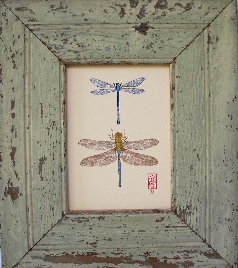 Damselfly and Dragonfly Wood Framed Print