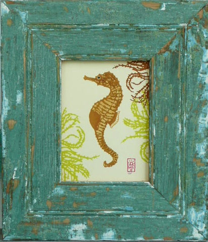 Seahorse and Seaweed Wood Framed Print