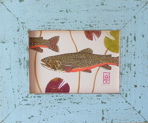 Brook Trout and Lily Pads Wood Framed Prints