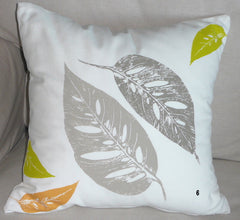 Tropical Botanical Handmade Pillow Covers ~ Tropical ferns, leaves and feathers