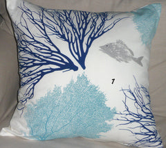 Coastal Corals: Handmade Pillow Covers in ocean blue, beach house blue and silver