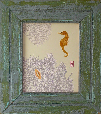Sea Horse and Purple Sea Fans Wood Framed Print