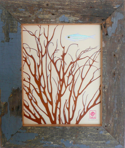 coral and silvery fish in wood frame