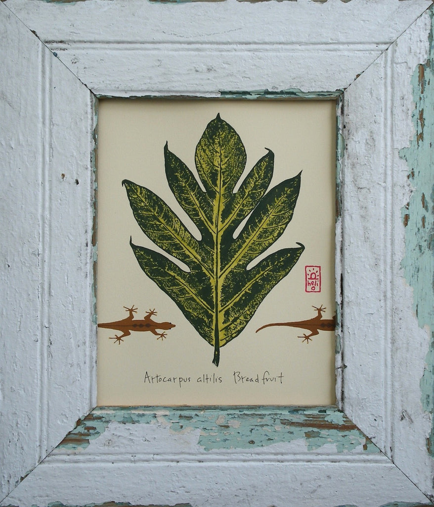 Breadfruit Leaf and Geckoes Wood Framed Print