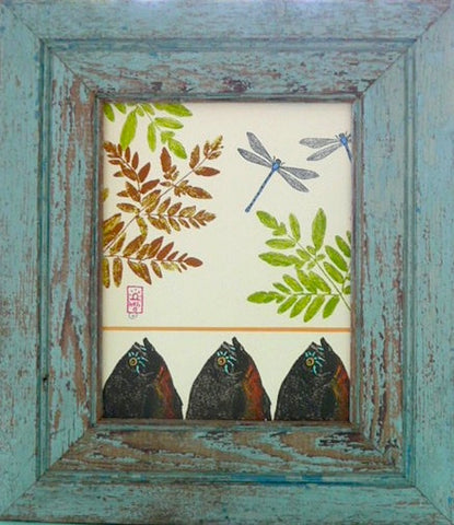 Ferns, Damselflies and Sunfish Wood Framed Print