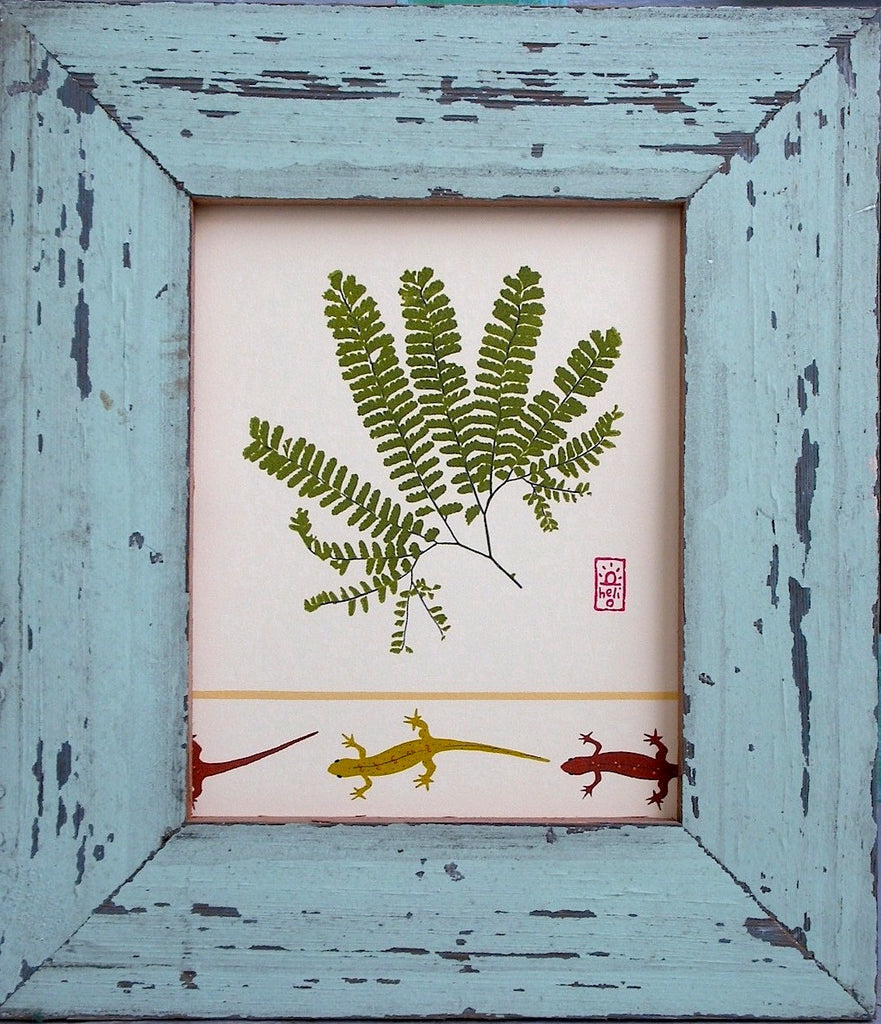 Maidenhair Fern and Newts Wood Framed Print