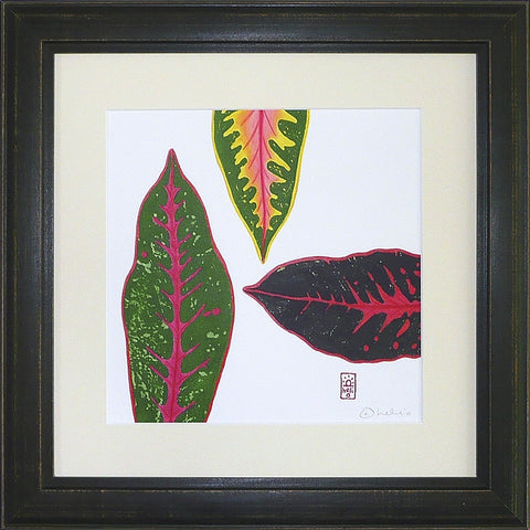 Croton Leaf Collage: 3 leaves pointing