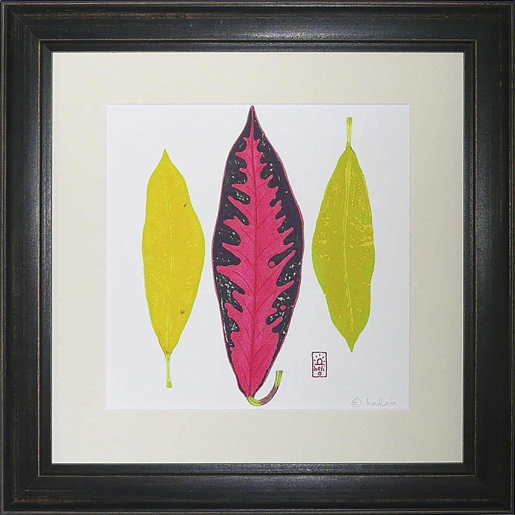 Croton Leaf Collage: 3 vertical leaves
