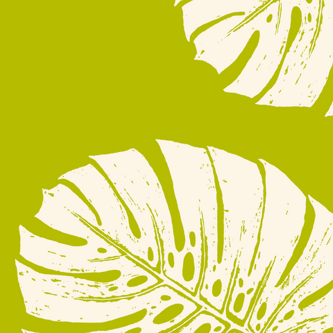Fabric: Tropical Monstera leaves - ivory on chartreuse