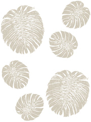Fabric: Tropical Monstera leaves - sand on white
