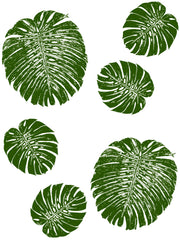 Fabric: Tropical Monstera leaves - jungle green on white